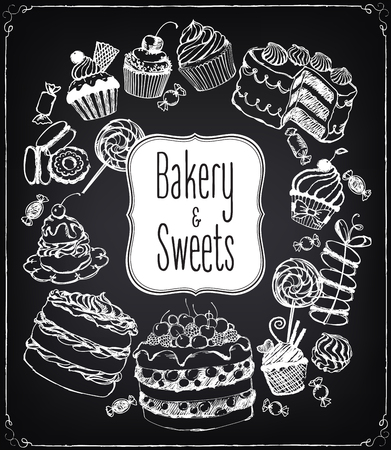 Set of hand-drawn pastries and sweets. Bakery shop. Vector icons of sweet bakery. Freehand drawing with imitation of chalk sketch