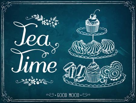 Illustratie met de woorden Tea Time three-tiered stand met zoete gebakjes.