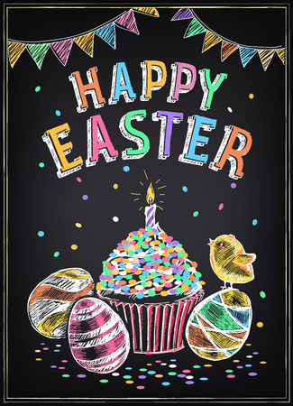 chalk drawing: Happy Easter vintage poster with Easter cake and eggs. Freehand drawing with imitation of chalk sketch Illustration