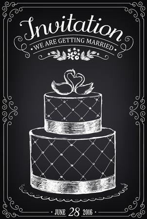 dessin: invitation de mariage de carte vintage. Gâteau de mariage