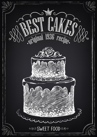 Vintage Poster Best Cakes. Freehand drawing with imitation of chalk sketch.