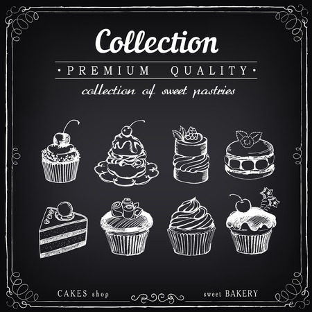 sweet pastries: Set of hand-drawn sweet pastries and cupcakes. Bakery shop. Vector icons of sweet bakery. Freehand drawing with imitation of chalk sketch