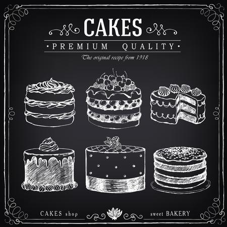 손으로 그린 케이크의 집합입니다. 베이커리 달콤한 가게. 케이크의 벡터 아이콘. 자유형 분필 스케치의 모방 드로잉