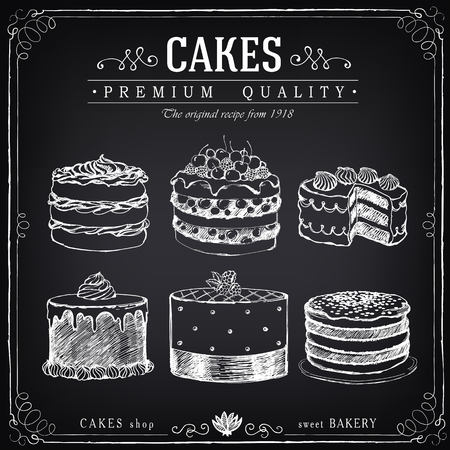 Set of hand-drawn cakes. Bakery sweet shop. Vector icons of cakes. Freehand drawing with imitation of chalk sketch Vettoriali