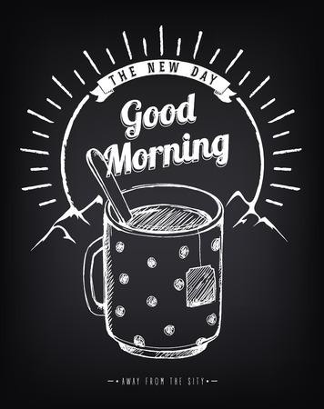 bonne aventure: Vintage poster Good Morning avec une grande tasse de thé. Paysage de montagne. Forêt. Lever du soleil. dessin Freehand avec imitation de craie croquis