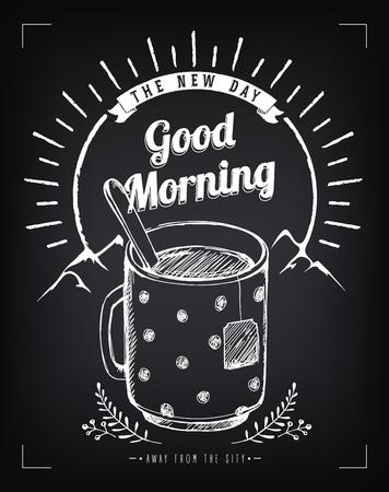 voyage vintage: Vintage poster Good Morning avec une grande tasse de thé. Paysage de montagne. Lever du soleil. imitation de craie croquis Illustration