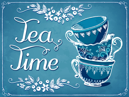 Illustration Tea Time with cute cups. Floral backgraund. imitation of chalk sketch