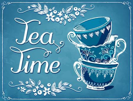 tarde de cafe: Ilustración del tiempo del té con las tazas lindo. backgraund floral. imitación de dibujo de tiza