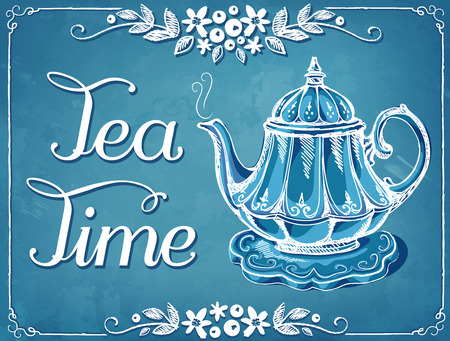 teapot: Illustration Tea Time with teapot. Floral frame.  imitation of chalk sketch