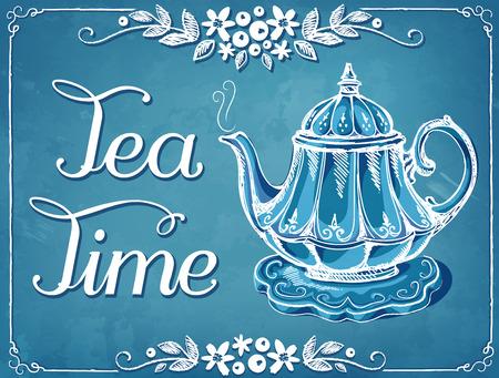 Illustrazione Tempo di tè con la teiera. cornice floreale. imitazione di disegno gesso