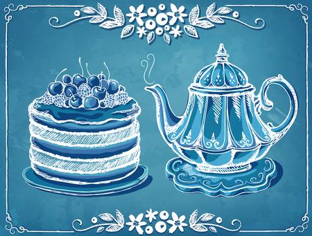 time frame: Illustration Tea Time with teapot berry cake. Floral frame. imitation of chalk sketch