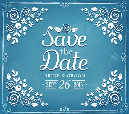 Merke dir das Datum. Hochzeitseinladungskarte Suite mit Blumen-Vorlagen. floral Hintergrund Standard-Bild - 52799607