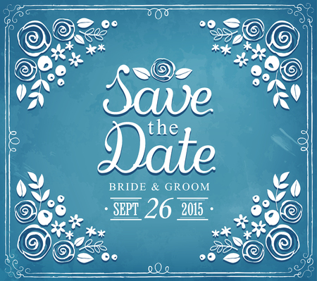 Save The Date. Wedding invitation card suite with flowers templates. Floral background Illustration