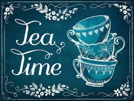 Illustration Tea Time with cups. Floral frame.  imitation of chalk sketch