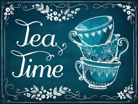 Ilustración del tiempo del té con las tazas. Marco floral. imitación de dibujo de tiza Foto de archivo - 52799608