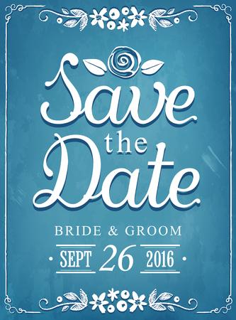 Save the date. Wedding invitation vintage card. imitation of chalk sketch