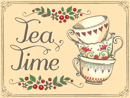 in english: Illustration Tea Time with cute cups. Sketch