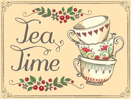 tarde de cafe: Ilustración del tiempo del té con las tazas lindo. Bosquejo