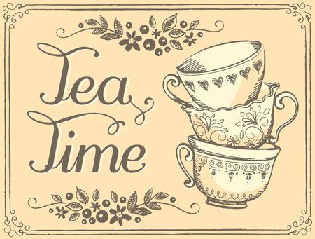 alto: Ilustración del tiempo del té con las tazas lindo. Bosquejo