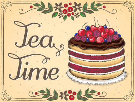 time frame: Illustration Tea Time with Berry cake. Floral frame. imitation of sketch. Tea Party, birthday Illustration