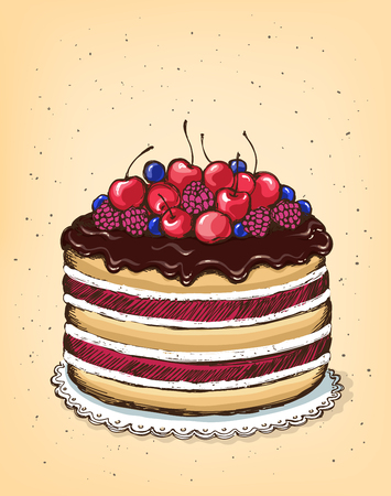 berry: Chocolate cake with berries. Vintage Poster Best Cakes.  imitation of sketch