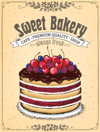 Chocolate cake with berries. Vintage Poster Best Cakes. imitation of sketch