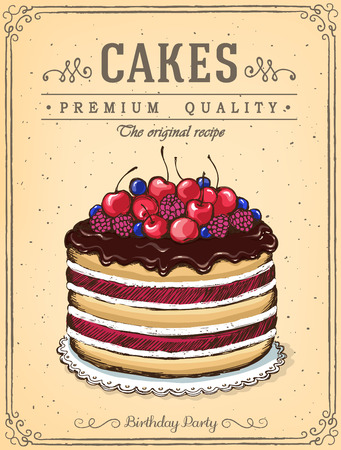 homemade cake: Chocolate cake with berries. Vintage Poster Best Cakes. imitation of sketch