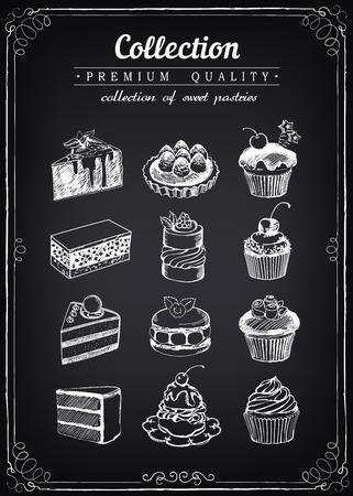 pasteles: Conjunto de pasteles dulces y bizcochos. Pasteleria. iconos de panadería dulce. imitación de dibujo de tiza