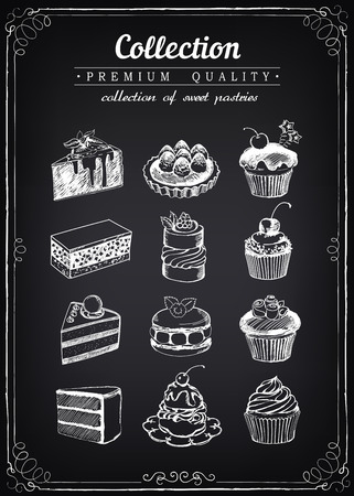 confectionery: Set of  sweet pastries and cupcakes. Bakery shop. icons of sweet bakery.  imitation of chalk sketch