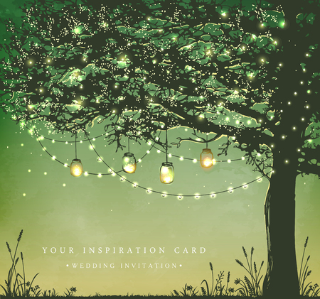 sunset tree: Hanging decorative holiday lights for a back yard party. Garden party invitation.  Inspiration card for wedding, date, birthday, tea party