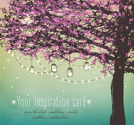 pink tree with decorative lights for party. Garden party invitation. Inspiration card for wedding, date, birthday, tea party