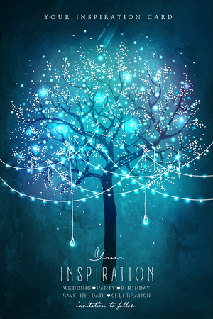 magic tree with decorative lights for party. Inspiration card for wedding, date, birthday, tea party. Garden party invitation