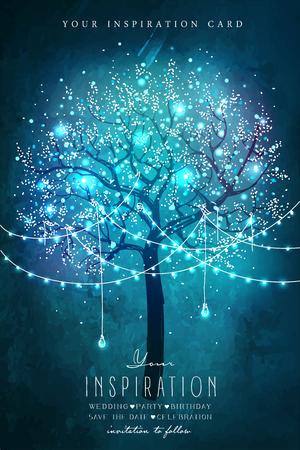 dia y noche: Árbol mágico con las luces decorativas para el partido. tarjeta de inspiración para la boda, fecha, cumpleaños, fiesta del té. Invitación de la fiesta de jardín