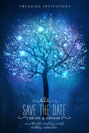 magie: Réserve cette date. arbre magique. carte Inspiration pour la célébration de mariage, date, fête d'anniversaire. Invitation de mariage