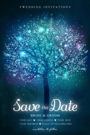 Hochzeitseinladungskarte. Inspiration Karte für Hochzeit, Datum, Geburtstag, party. Magischer Baum mit Lichtern