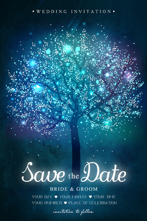 birthday tea: Wedding invitation card.  Inspiration card for wedding, date, birthday, tea party. Magic tree with lights