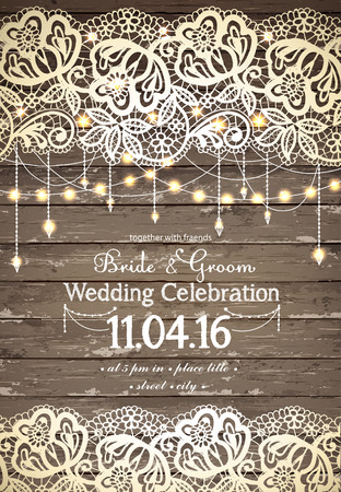 a wedding: Wedding invitation card. Beautiful lace with decorative lights for party. Vintage wooden background. Inspiration card for wedding, date, birthday, tea or garden party