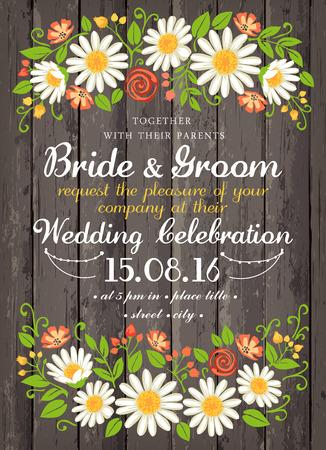 beuty보고 꽃 배경 결혼식 초대 카드. 결혼식, 날짜, 생일, 차 또는 정원 파티에 대한 영감 카드 일러스트