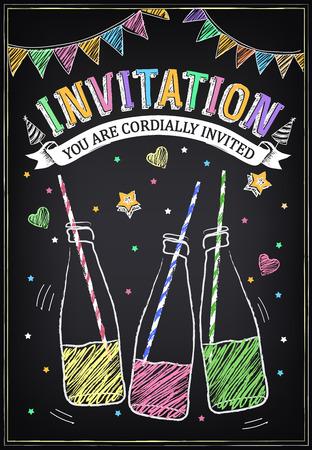 Uitnodiging voor het verjaardagsfeestje met flessen frisdrank en confetti. Uit de vrije hand tekenen met imitatie van krijt schets