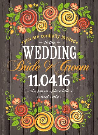 tarjeta de invitación de boda con beuty fondo floral. tarjeta de inspiración para la boda, fecha, cumpleaños, té o fiesta en el jardín Ilustración de vector