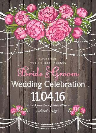 Bruiloft uitnodigingskaart met beuty bloemen achtergrond. inspiratie kaart