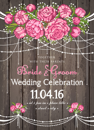 beuty: Wedding invitation card with beuty floral background. Inspiration card