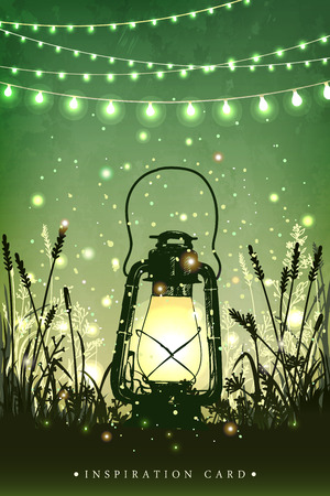 Amazing vintage lanten on grass with magical lights of fireflies at night sky background. Unusual vector illustration. Inspiration card for wedding, date, birthday, tea or garden party Vectores