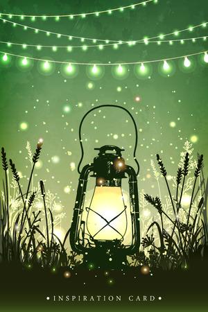 Increíble farol vintage sobre hierba con luces mágicas de luciérnagas en el fondo del cielo nocturno. Ilustración vectorial inusual Tarjeta de inspiración para boda, fecha, cumpleaños, té o fiesta en el jardín