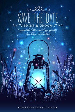 Amazing vintage lanten on grass with magical lights of fireflies at night sky background. Unusual vector illustration. Inspiration card for wedding, date, birthday, tea or garden party Stock Illustratie