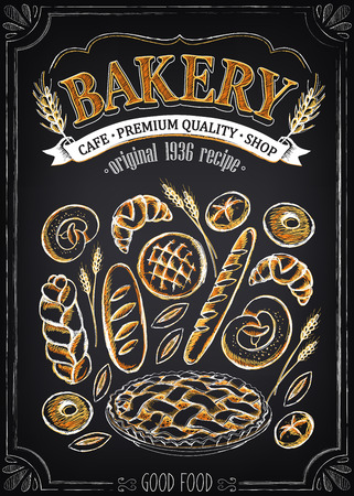 product background: Vintage Bakery Poster. Set of bakery. Bread and pastries. Imitation of chalk sketch. Bakery Shop Design.