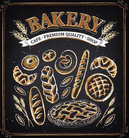 빈티지 베이커리 포스터. 빵집의 집합입니다. 빵과 파이. 분필 스케치의 모방. 베이커리 숍 디자인.