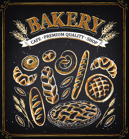 pone: Vintage Bakery Poster. Set of bakery. Bread and pastries. Imitation of chalk sketch. Bakery Shop Design.