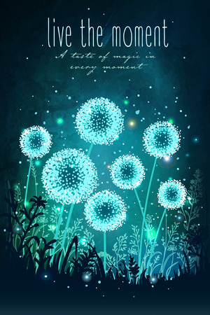 Amazing dandelions with magical lights of fireflies at night sky background. Unusual vector illustration. Inspiration card for wedding, date, birthday, holiday or garden party Иллюстрация