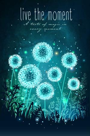imaginacion: dientes de león sorprendentes con las luces mágicas de luciérnagas en el fondo del cielo nocturno. ilustración vectorial inusual. tarjeta de inspiración para la boda, fecha, cumpleaños, día de fiesta o fiesta en el jardín